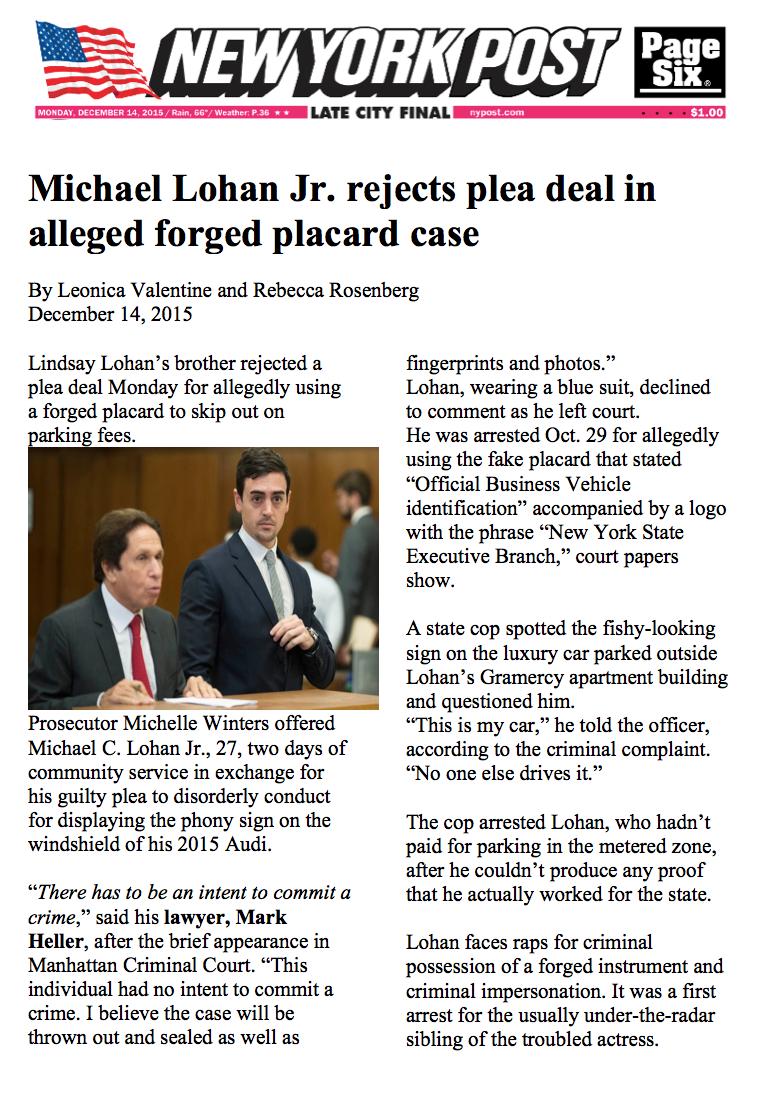 NY Post Lohan